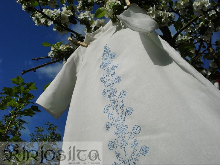Kastemekko ja sininen kirjonta. www.kirjosilta.fi