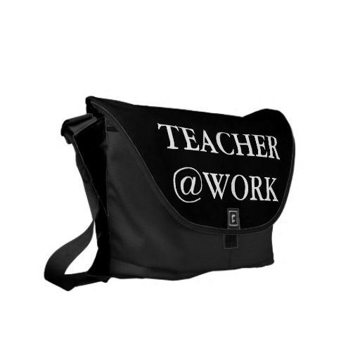 Lehrer @Work lustige Schwarz-weiße Bote-Tasche Kuriertaschen