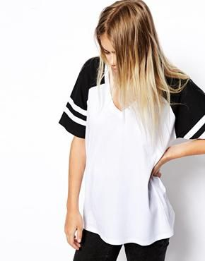 ASOS Colour Block Baseball Top with V neck