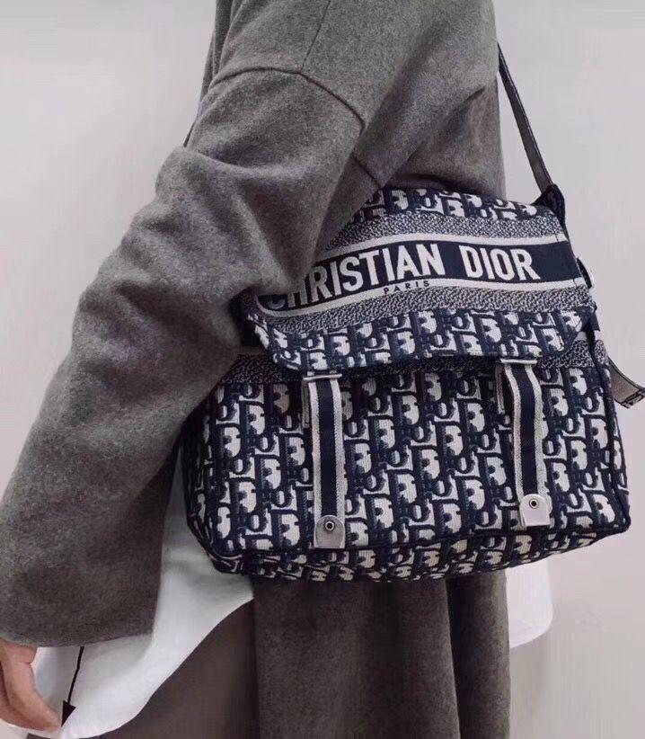 Christian Dior cd camp canvas messenger shoulder bag oblique style ... 1f8fd51dfa2cd