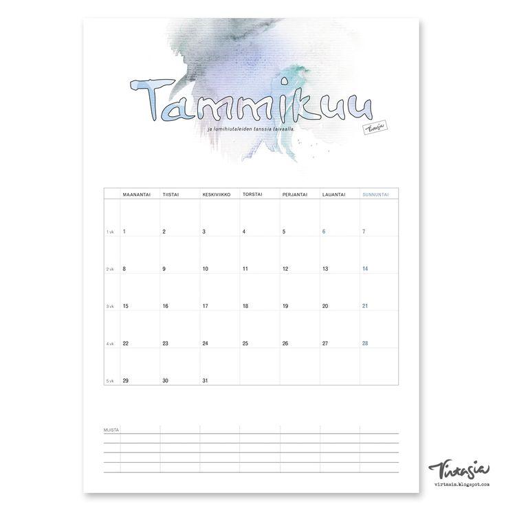 Ilmainen tulostettava tammikuun 2018 seinäkalenteri #ilmainen#tulostettava #kalenteri #2018 #tammikuu #free #print#calendar #january2018