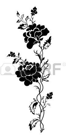 Patron floral verticale rose tatouage Banque d'images