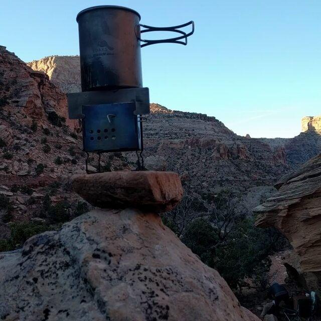Morning Cup In Utah's Red Rock Country #ultralight#Backpacking#camp#camping#fire#box#firebox#stove#titanium#bush#bushcraft#toaks#desertscape#desertscape#slickrock#Utah#redrock#hiking#canyon#backcountry#san_rafael_swell#nano#g2 #gen2
