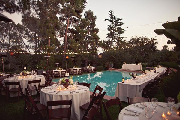 mixture of round and long tables around the pool... looks cramped in this photo so we'd obviously make it look better!