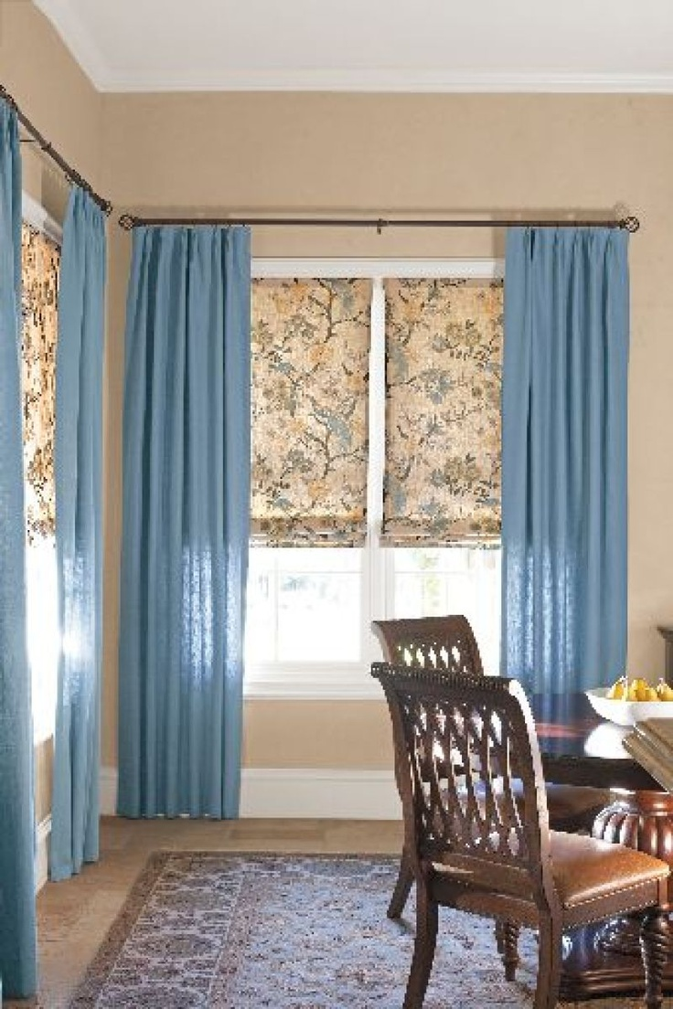 Blue window treatments -  Diningroom Blue Curtains