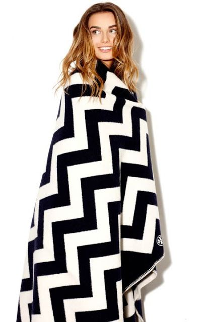 Black and white chevron blanket by Tory Burch. Cozy, chic comfort.