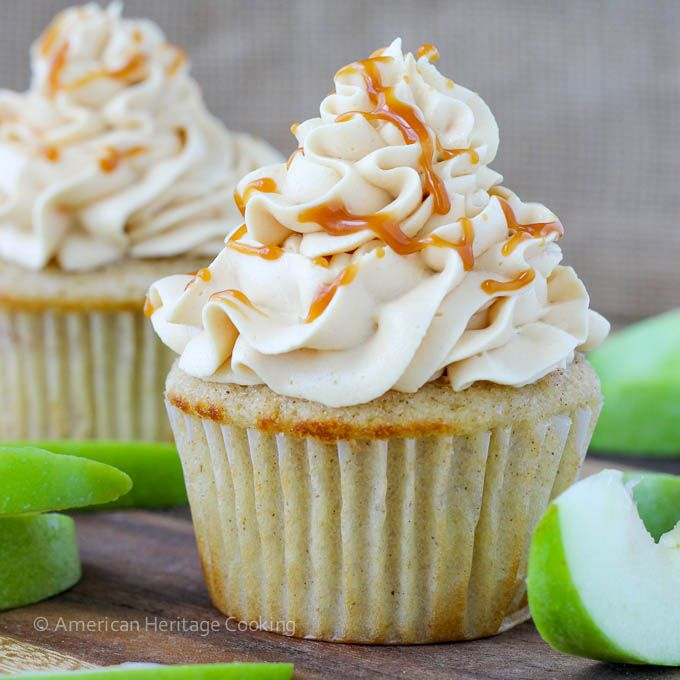 These Caramel Apple Cupcakes have a cinnamon buttermilk cake sprinkled with cinnamon sugar filled with a spiced apple compote and are frosted with a decadent caramel buttercream!