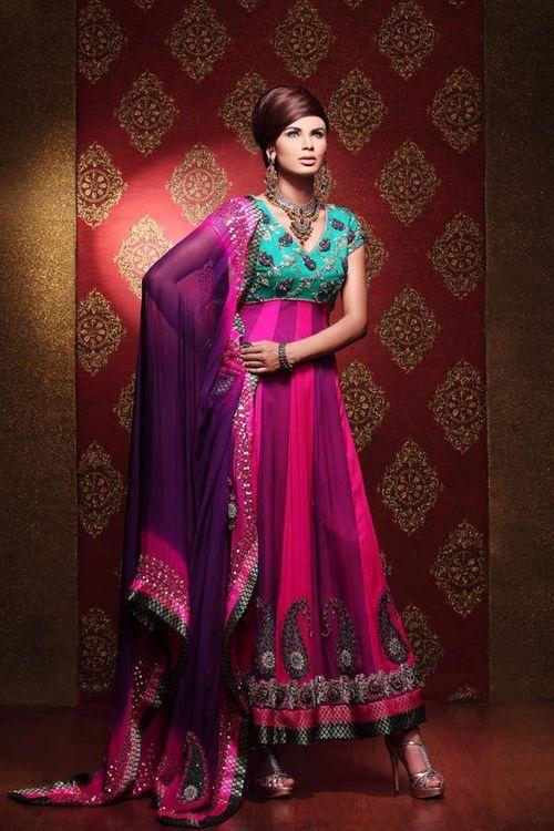 pink and green salwar