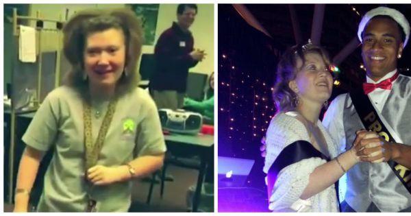 #bal #handicap Oregon, aux États-Unis: Katie atteinte d'une maladie génétique rare et souffrant de démence n'était même pas sûre de se rendre au bal de promo, jusqu'à ce qu'elle découvre qu'elle faisait partie des filles nominées pour être Prom Queen.