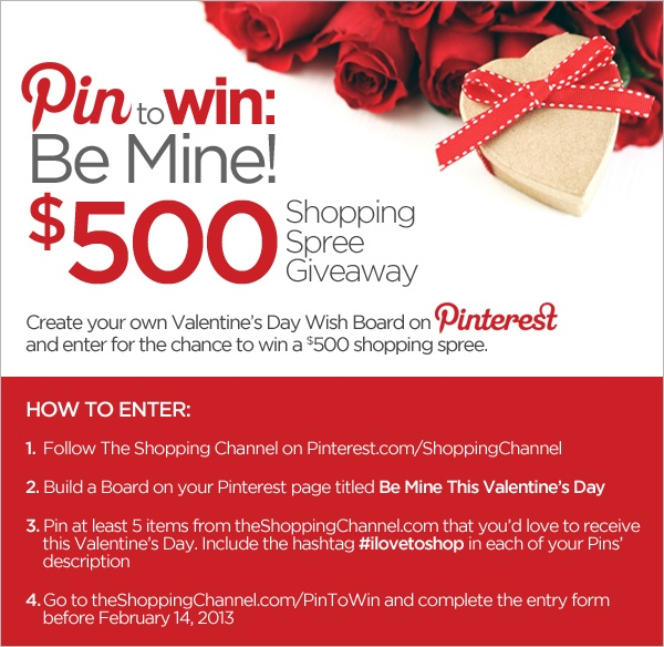 Valentine's Day is fast approaching! The Shopping Channel has amazing heart melting items that we're sure you'd LOVE to receive this February 14th. Create your own Pinterest board for a chance to WIN at $500 Shopping Spree Giveaway! #ilovetoshop