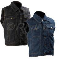 Denim Motorcycle Vest with Kevlar Padding