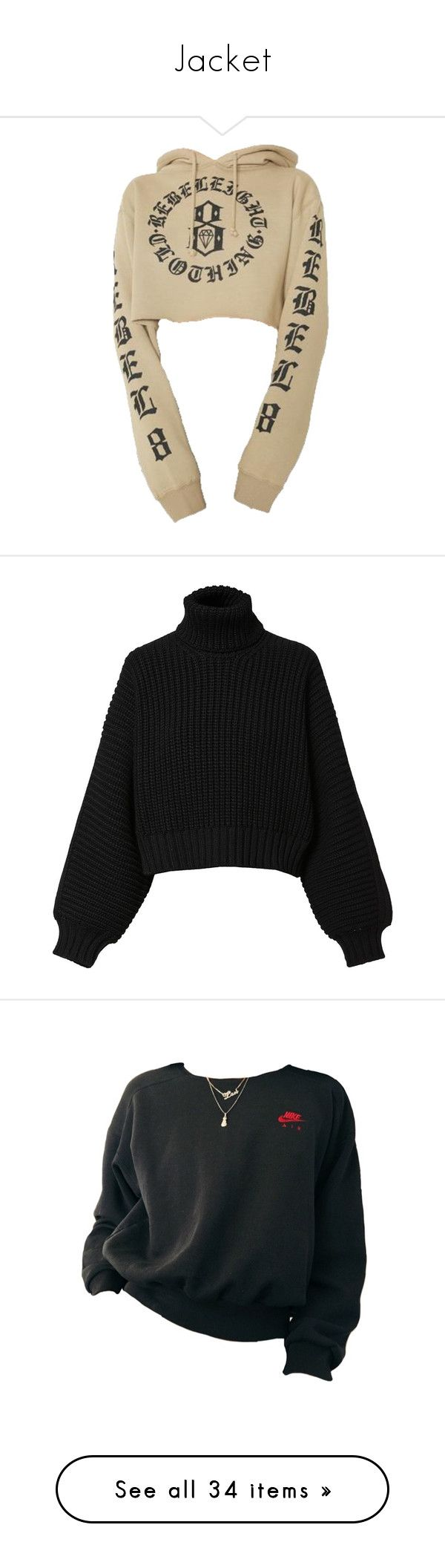 """Jacket"" by fashunkillaa ❤ liked on Polyvore featuring tops, hoodies, sweaters, shirts, jumper, black, diesel black gold, women, long-sleeve crop tops and long pullover sweaters"