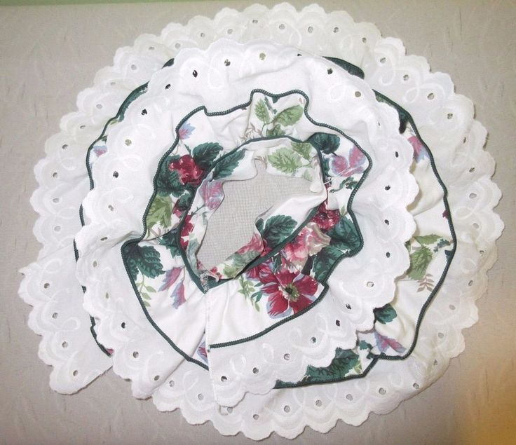 """1Yrd 4"""" Wide White Green Double Ruffle Trim Cotton Eyelet Lace Sewing Craft Doll #Unbranded"""