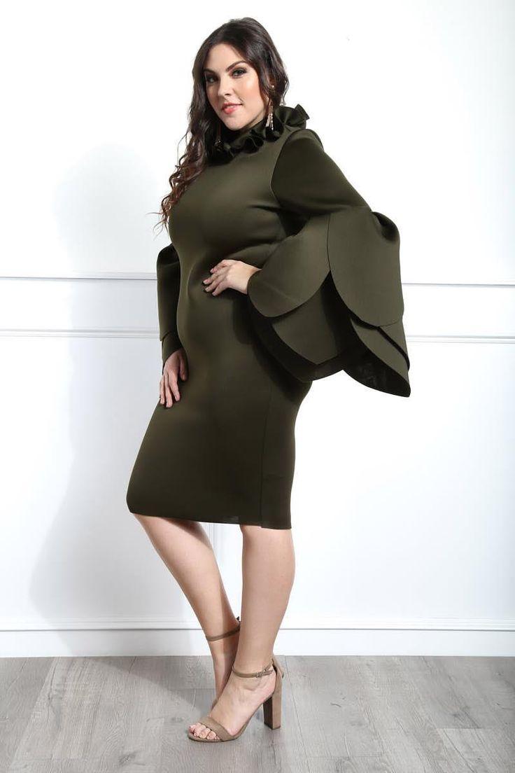 Rosa Bella Plus Size Petal Sleeve Knee Dress