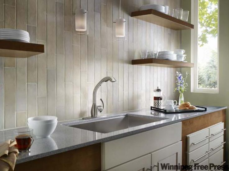 Backsplash ideas no upper cabinets the fusion kitchen for Kitchen without tiles
