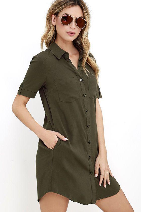 Oxford Comma Olive Green Shirt Dress at Lulus.com!