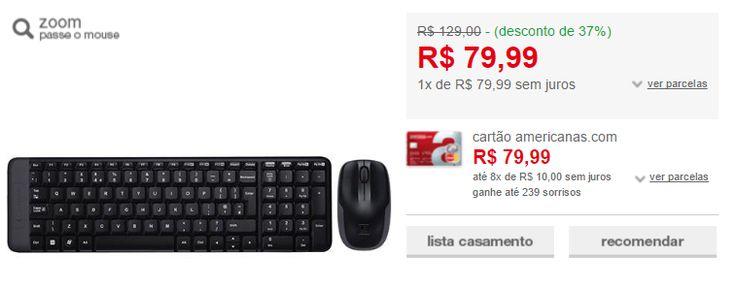 Combo Mouse e Teclado Wireless Logitech MK220 << R$ 7999 >>