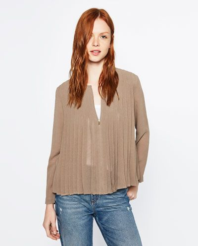 FINE PLEATED BLOUSE-Plain-TOPS-WOMAN | ZARA United States