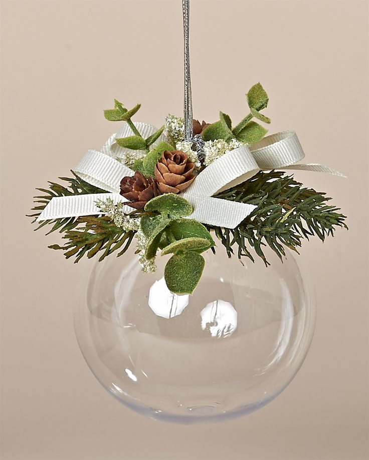 83MM Acrylic Ball Ornament with Faux Pine, Tiny Pine Cones and Ivory Bows