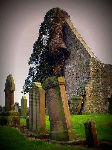 Ruins of Prestwick Chapel, Prestwick, Scotland. A ruined medieval chapel with abandoned graveyard.