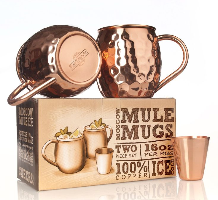 BarTrendz Premium Moscow Mule Copper Mugs Set of 2 Bonus Copper Shot Glass - Two 16 oz Copper Cups for Moscow Mules - Solid 100% Hammered Copper Mug