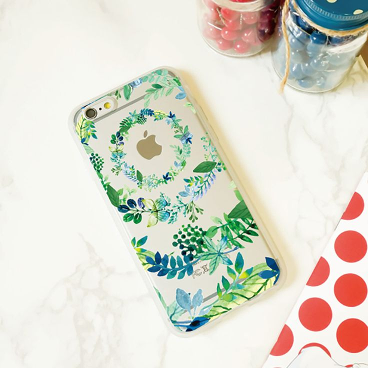 Jelly Clear Design Phone Case - Leaves in Circle