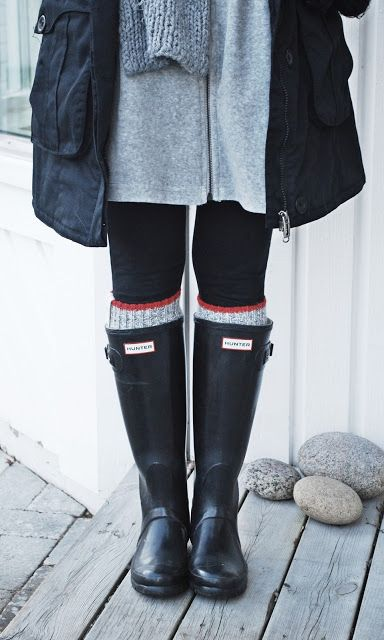 dress, leggings, sweater socks, hunters rain boots