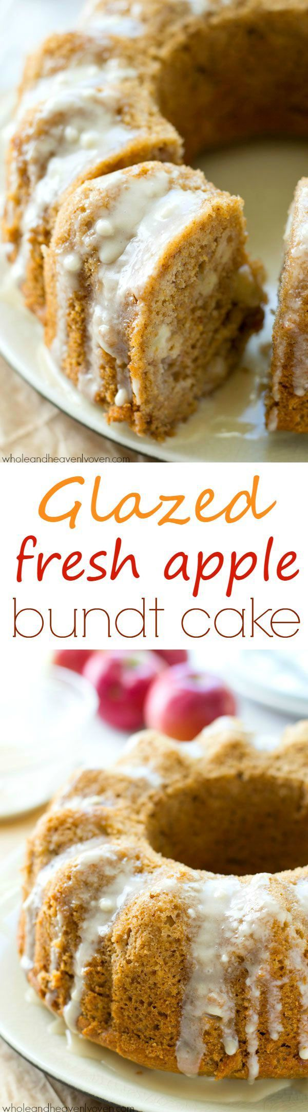 Drizzled with tons of glaze and incredibly soft and filled with soft apple chunks inside, this stunning bundt cake will impress everyone you serve it to! @WholeHeavenly