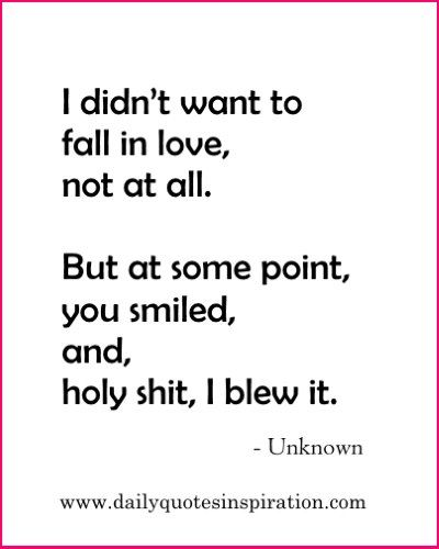 Cute Funny Love Quotes- I didn't want to fall in love, not at all. But at some point, you smiled, and, holy shit, I blew it.www.dailyquotesinspiration.com