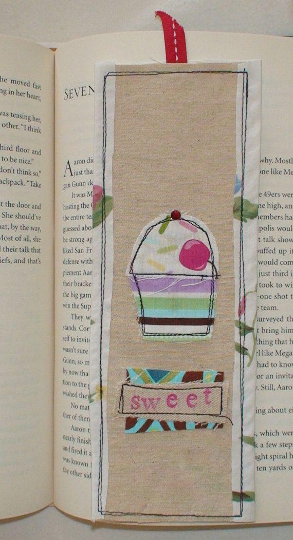 Sweet little cupcake soft fabric bookmark 15