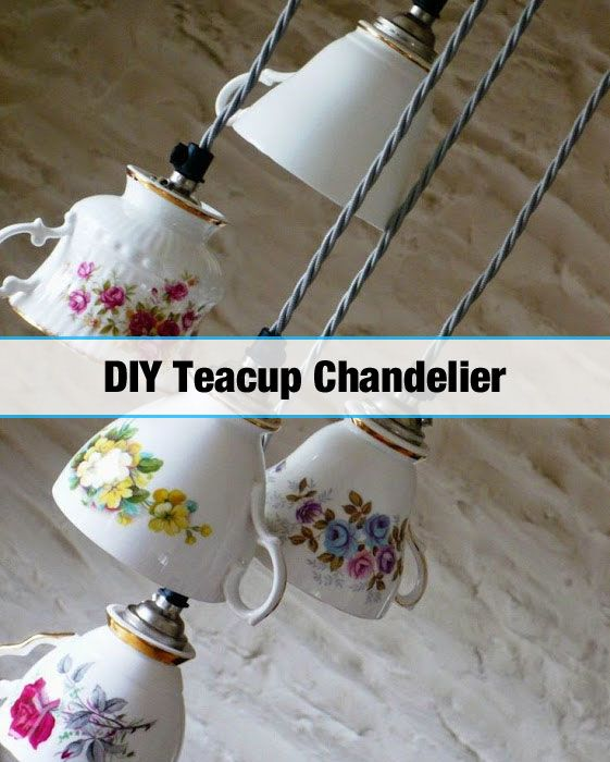 How to Make a Teacup Chandelier DIY - http://diyforlife.com/how-to-make-a-teacup-chandelier-diy/ - #Chandelier, #Teacup