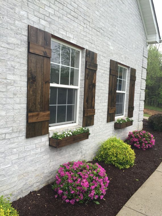 Shutters Custom Board And Batten Shutter Farmhouse Wood Rustic Stained Exterior