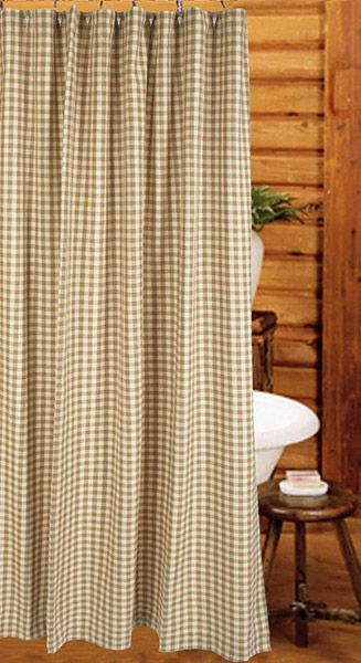 Oat Cream Heritage House Check Shower Curtain 72 X 72