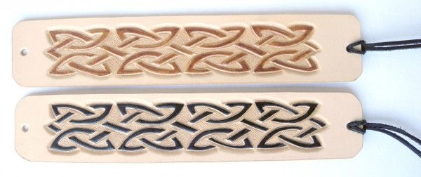Leather bracelet, hand-carved and hand-painted, Celtic knot