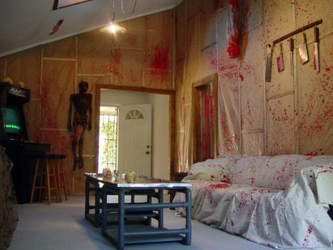 a la dexter may decorate a room or bathroom in plastic tarp and spray red pain all over with some plastic knife in the corner kids will crap t - Halloween Room Ideas
