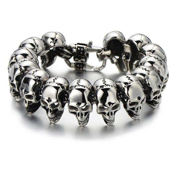 Find More Chain & Link Bracelets Information about Mens Stainless Steel Large Skull Link Bracelet Biker Gothic Style Silver Color High Polished,High Quality bracelet cz,China silver rosary bracelet Suppliers, Cheap silver rolo bracelet from Fashion ---stainless steel on Aliexpress.com