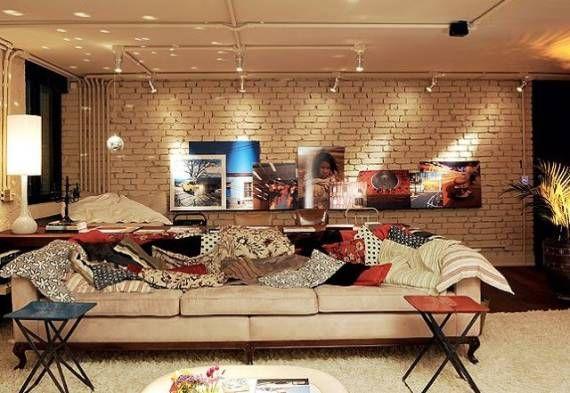 Resultado de imagem para sala de estar industrial