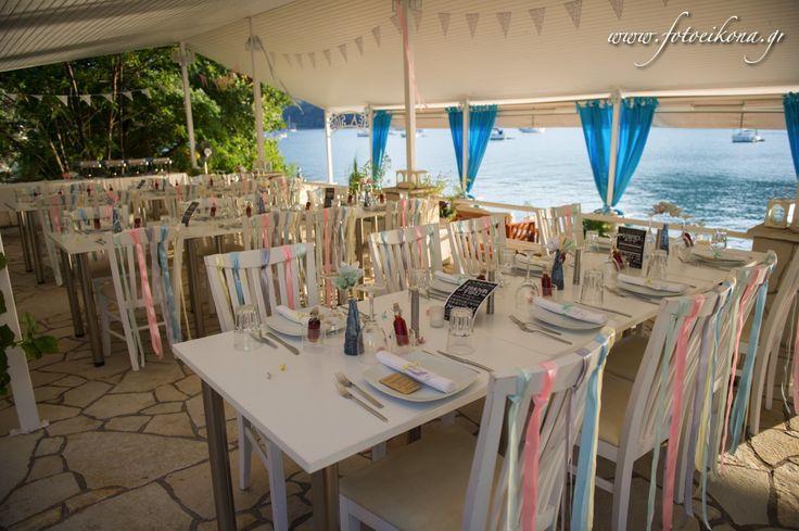 Wedding dinner at Seaside Geni Lefkada Greece. Photography by @eikona