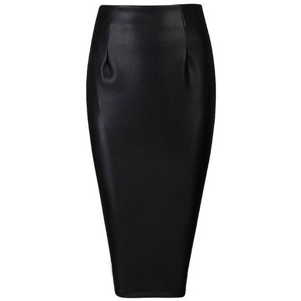Leatherette Skirt Black ($89) ❤ liked on Polyvore featuring skirts, high waisted knee length skirt, zipper pencil skirt, black zipper skirt, high rise skirts and knee length pencil skirt