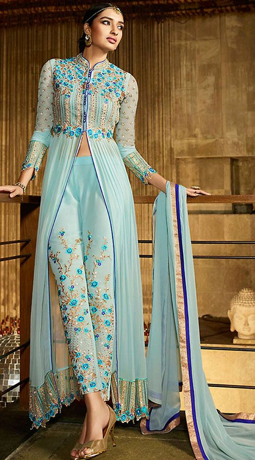 Dazzling Aqua Floral Work Front Cut Kameez With Straight Fit Pant MZ980602 Stunning aqua georgette front cut kameez which is imposingly made with stone, zari, resham and embroidery work. This attire comes with matching bottom and dupatta. This Salwar Kameez can be stitched in the maximum bust size of 42 inches.