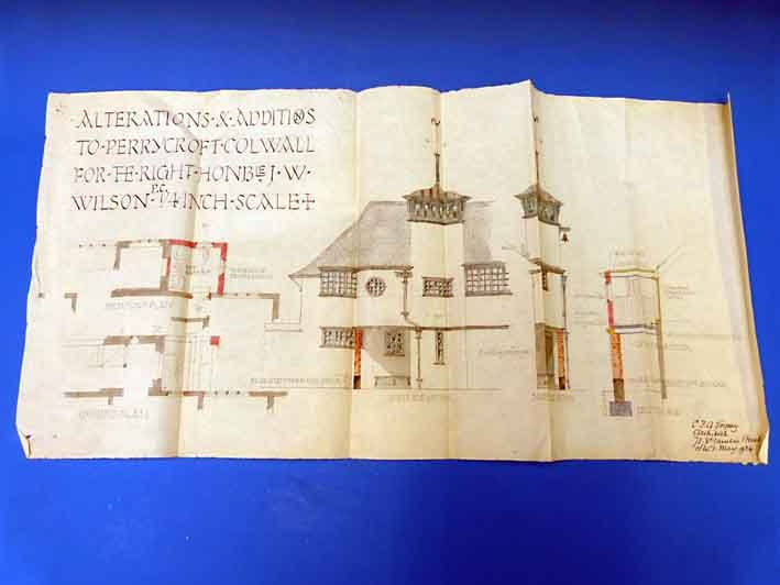 An architect's drawing by C.F.A. Voysey dated May 1924 sold for £9800 at Stroud Auction Rooms in 2013. Perrycroft in Colwall, near Malvern, was designed by Charles Francis Annesley Voysey (1857-1941) in 1893 for John William Wilson (1858-1932), a railway magnate & British politician who served for 27 years as a Liberal Party MP for North Worcestershire (later Stourbridge). His summer house was completed two years later, by which time Voysey - based in St John's Wood - was in his creative…