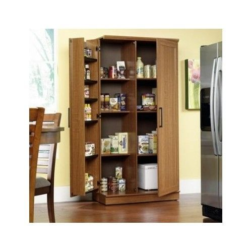 Tall Kitchen Cabinet Storage Food Pantry Wooden Shelf Cupboard Wood Organizer Gardens Home