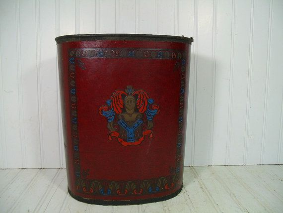 SOLD - Read the Review - Vintage Two Tone Burgundy Leather with Embossed Crest Ornate Oval Metal Waste Basket - MidCentury Masculine Cordovan Cover Library Trash Bin