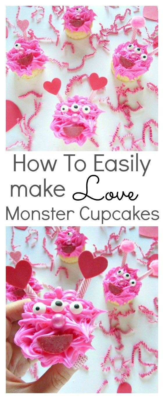 Valentine's day love monster cupcakes. The cute and cuddly kind that everyone will love. It's an easy to follow tutorial that the kids will have fun decorating. They are perfect for cute monster parties too! #Lovemonstercupcakes #Cupcakes #Valentinesday #Dessert