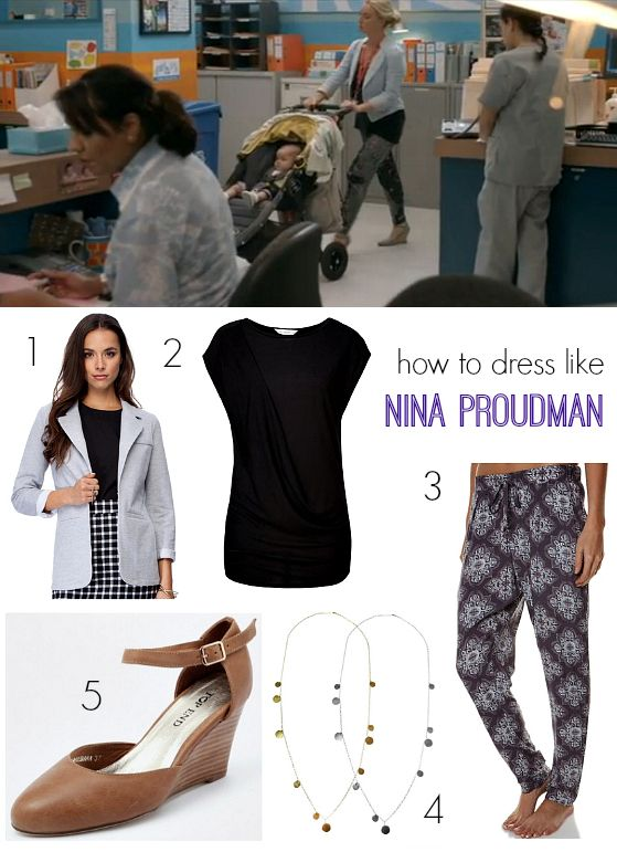 How to dress like Nina Proudman - printed pants and wedges - LOVE IT! @stylingyou
