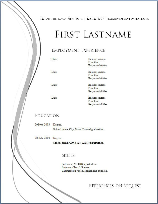 Resume Download Word. Download Word Resume Template Resume Format