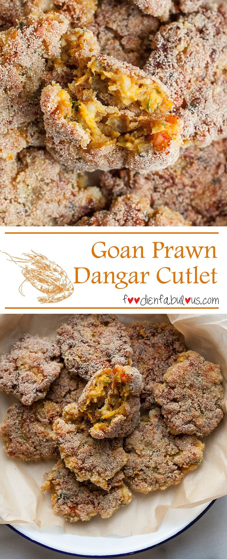 Easy recipe for Goan-style prawn cutlets - prawns mixed with spices and pan-fried with a semolina coating. So versatile, its great as a an appetiser, snack or even as a sandwich patty.
