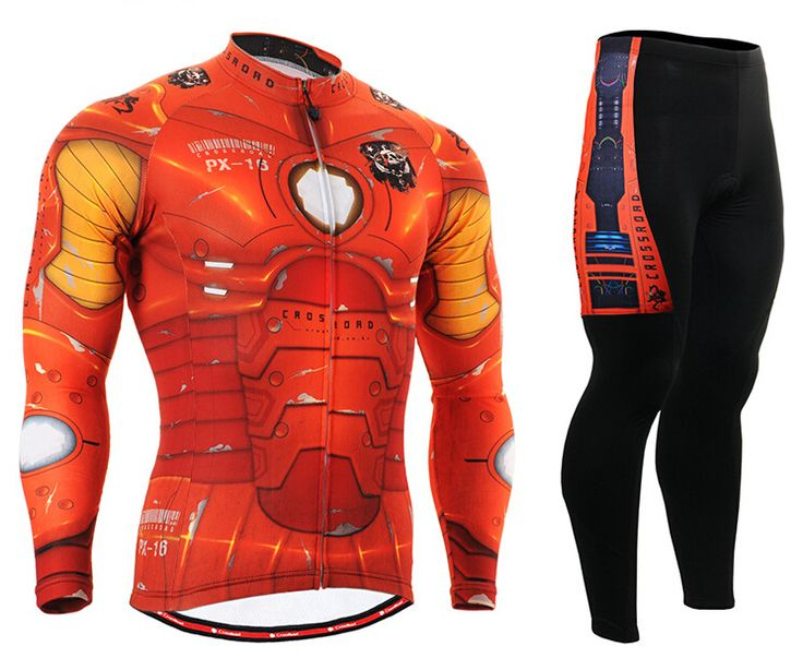 ==> [Free Shipping] Buy Best MTB Men Cycling Jersey Breathable Ironman Bike Clothing Sets Long Sleeve Cycling Clothing Orange iron Online with LOWEST Price | 32792134108