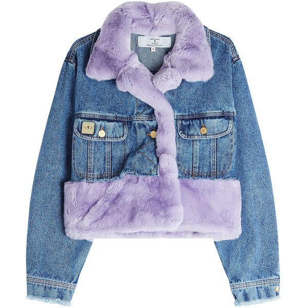 Denim Jacket with Fur Natasha Zinko ($1,670) ❤ liked on Polyvore featuring outerwear, jackets, jacket's, pastel denim jacket, pastel jacket, blue jean jacket, fur denim jacket and jean jacket