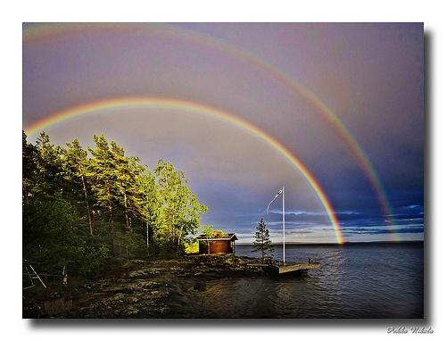 Double rainbow above the sauna ~ Finland